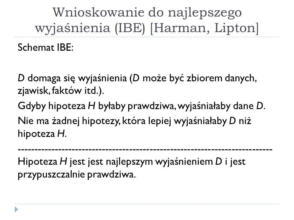 Wnioskowanie do najlepszego wyjaśnienia (IBE) [Harman, Lipton]